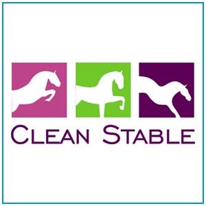 Logo CleanStable, empresa que produz e vende serragem e cepilho para cama de cavalos.
