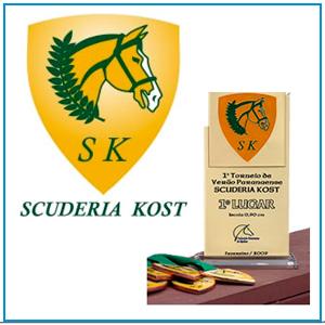 Logo, aplicação em papelaria, troféus e medalhas para Centro Hípico Scuderia Kost, localizado em Piraquara - PR.