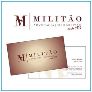 Logo, aplicação em papelaria e desenvolvimento de site do escritório de advocacia Militão de Curitiba - PR.