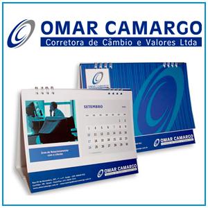 Logo, aplicação em papelaria, criação de material institucional e calendário da Corretora de Valores Omar Camargo, localizada em Curitiba - PR