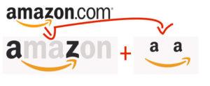Amazon usa o simbolo do A ao Z, para mostrar a extensa variedade de títulos que revende, além de uma carinha sorrindo.